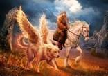Мифическая картинка с крылатой собакой