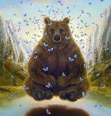 Рисунок с медведем и бабочками