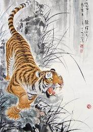рисунок тигра цветной